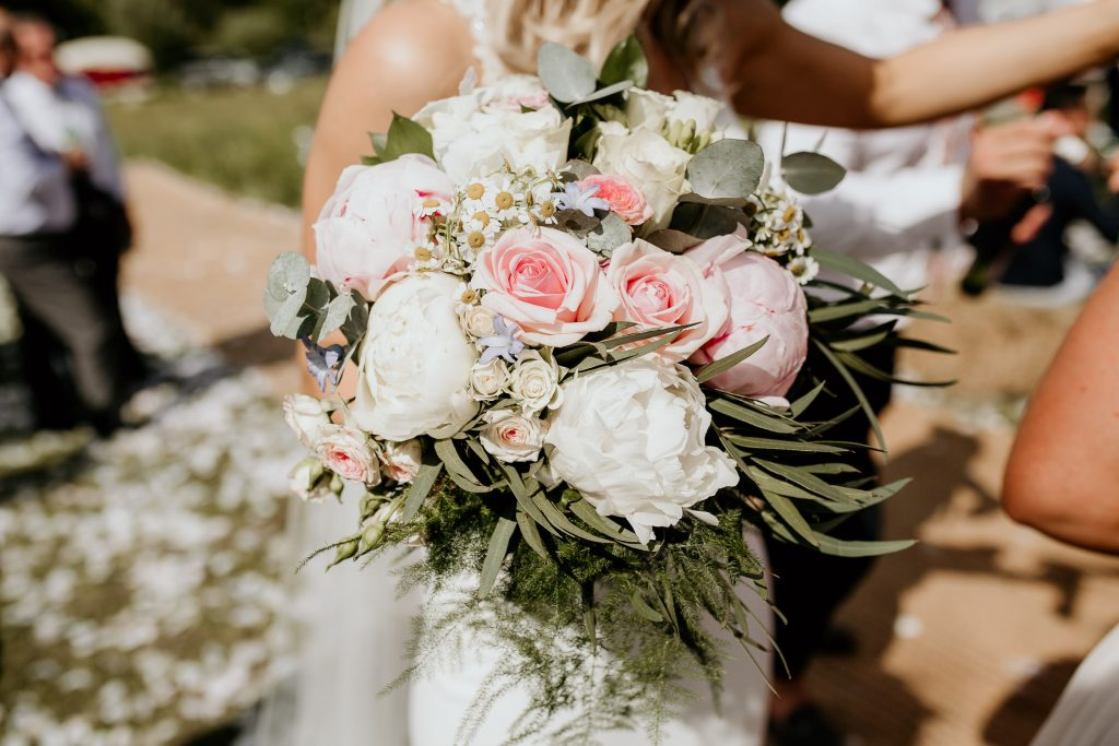 boho styled blush and white hand tied wedding boquet