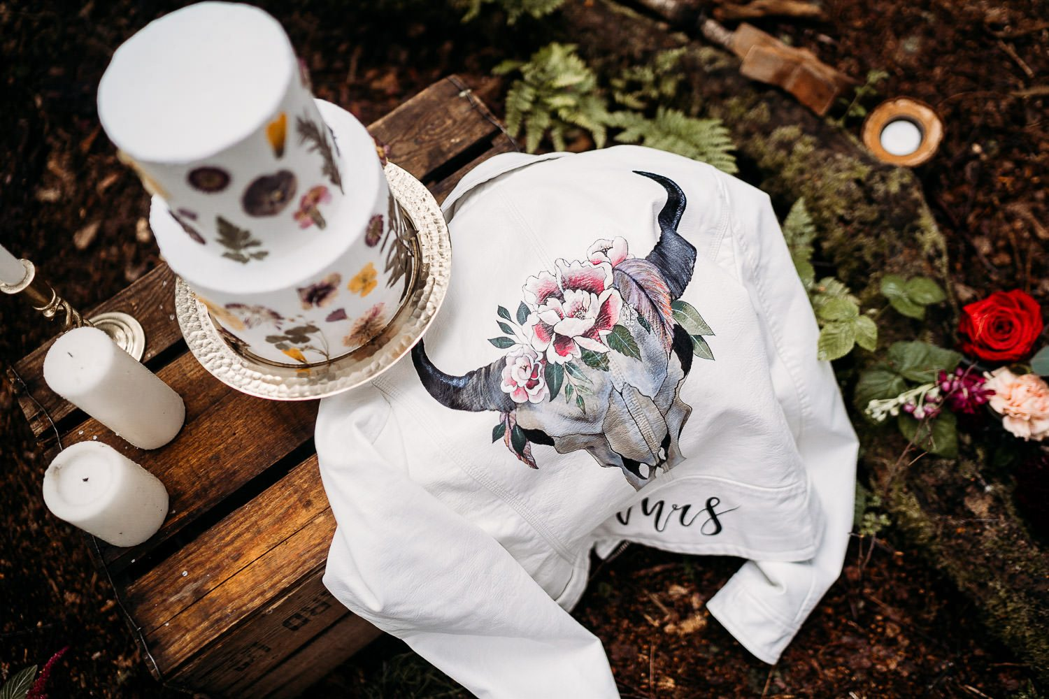 handpainted white leather bride jacket with deer skull and flowers