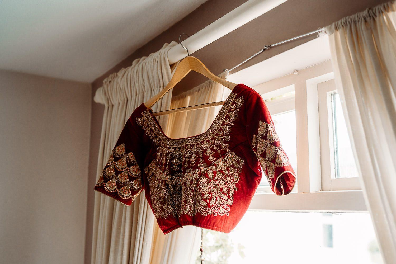 brides wedding sari hanging up