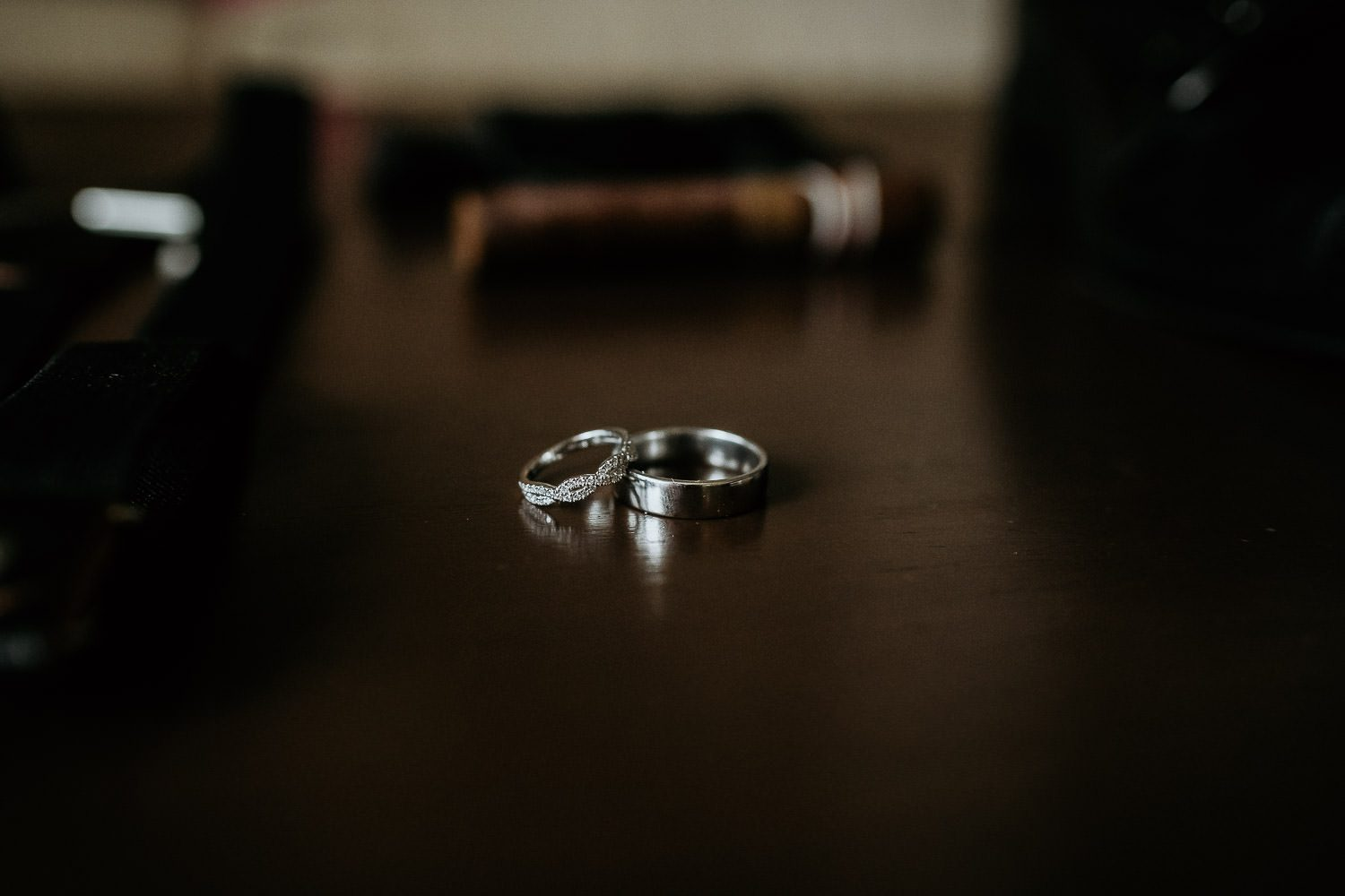 bride and grooms silver wedding rings
