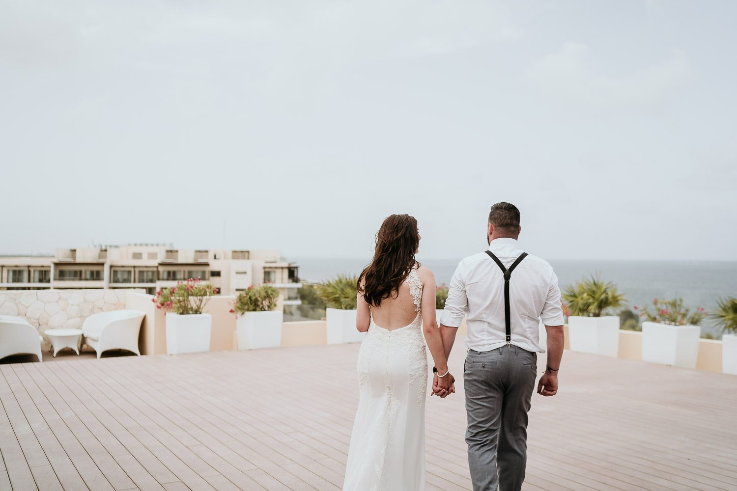 bride and groom on sky terrace at royalton riviera cancun
