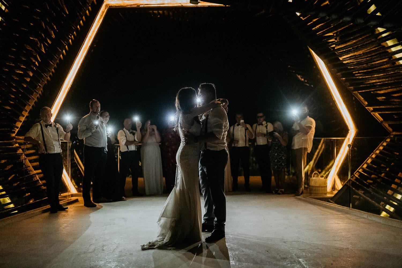 bride and groom dancing in royalton riviera gazebo