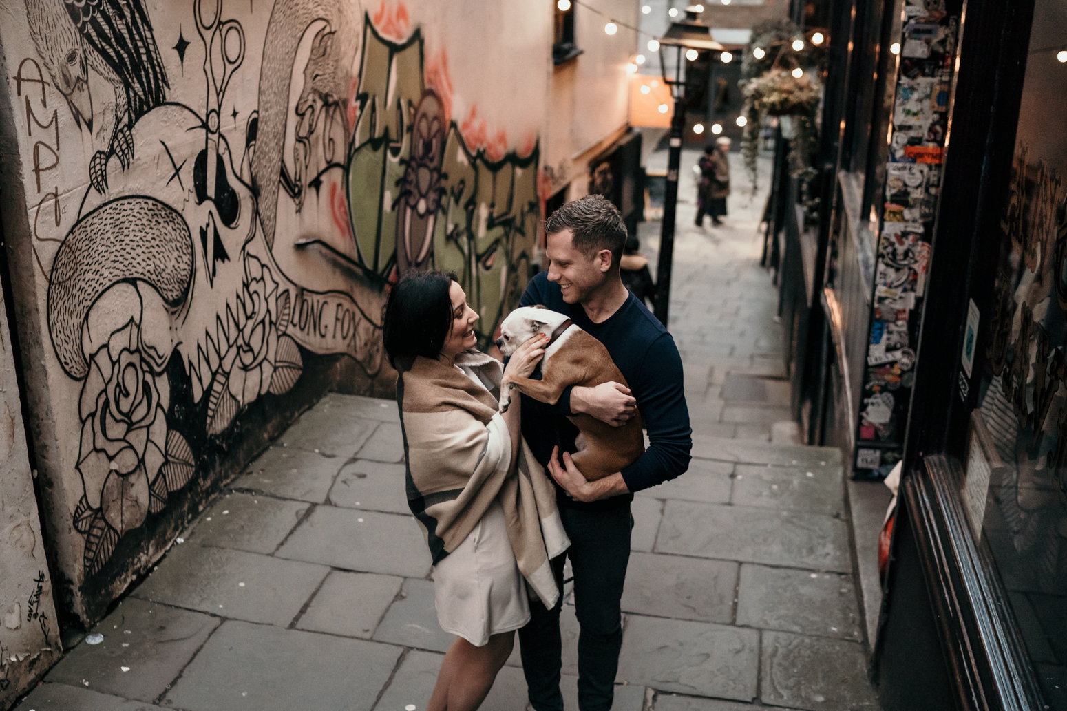 bristol engagement shoot with couple hugging
